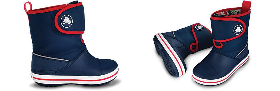Modelo de botas para niño en color azul y rojo, con interior estampado