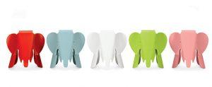 Taburete con forma de elefante en rojo, blanco, azul, verde y rosa