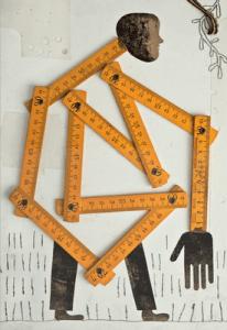Ilustración de Isidro Ferrer hecha con un metro de carpintero sobre un grabado con las extremidades de un hombre