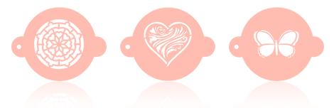 Plantillas con forma de corazón, mariposa y malla