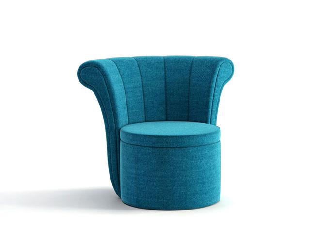 3D alto detalle de un sofá azul
