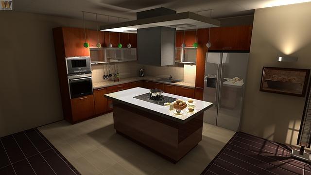 cocina moderna con fregadero sintético